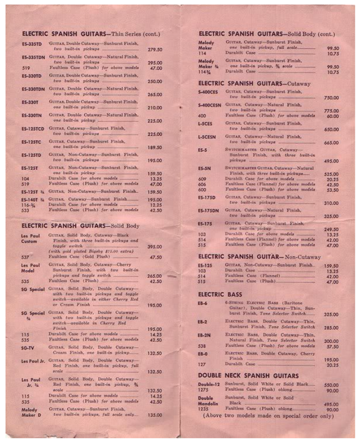 Gibson Price List from 1959 – Forgotten Guitar