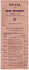 Gibson Price List from 1959 – Forgotten Guitar