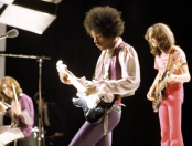 The Jimi Hendrix Experience performing at BBC TV center for 'Happening For LuLu' in 1969