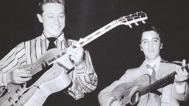 Scotty Moore on stage with Elvis Presley in the 1950s